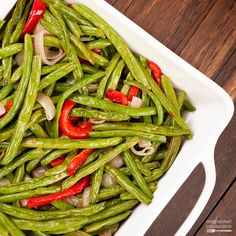 Roasted Green Bean, Pepper and Shallot Salad from MyGourmetConnection.com