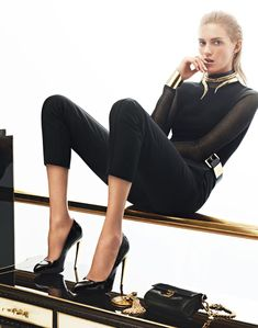Anja Rubik is Back in Black for Giuseppe Zanotti's Fall 2012 Campaign by Karim Sadli