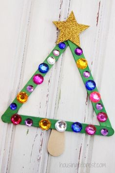 Popsicle Stick Christmas Tree Magnet