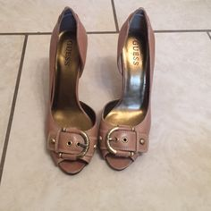 Shoes heel Light brown 3.5 inch heel, buckle with open toe. Guess Shoes Heels