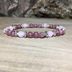 Bracelet femme en quartz rose et quartz fraise «amour»   Véritables pierres naturelles de 6 mm