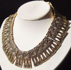 FLORENZA FOR LORRAINE MARSEL SIGNED MASSIVE EGYPTIAN REVIVAL NECKLACE  #Florenza #Collar