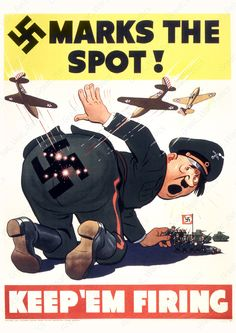 "Amazon.com: WW2 Anti Hitler Poster Propaganda - ""MARKS THE SPOT KEEP'EM FIRING"" (24x36, Unframed poster prints): Posters & Prints"