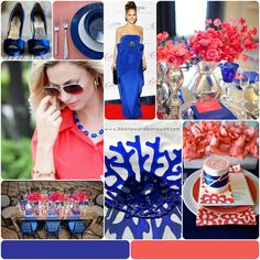 cobalt blue and coral wedding - Google Search