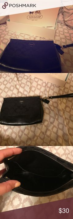 👜Large Black Coach Wallet with Original Box👜 This is a black large Coach wristlet!  Has card slots and a bigger pocket on the inside for cash and such!  Does come with the box and Coach tissue paper. Use a handful of times. Please let me know if you have any question! Coach Bags Clutches & Wristlets