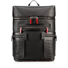 Christian Louboutin Apoloubi Backpack ($2,150) ❤ liked on Polyvore featuring bags, backpacks, black, black laptop backpack, leather pouch, genuine leather backpack, black leather rucksack and christian louboutin
