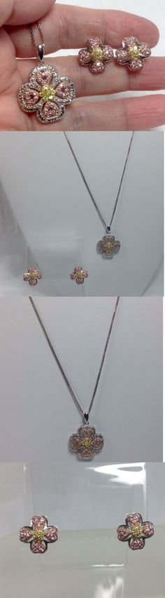 Other Fine Jewelry Sets 164328: Set Sterling Silver Pendant Box Chain Earrings Pierced Pink Yellow Diamonique Cz -> BUY IT NOW ONLY: $72.5 on eBay!