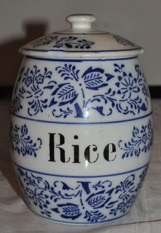 Antique Large Blue and white blue Onion RICE Canister made in Germany