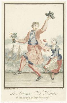 Pieter van den Berge | Dansende man met een roemer in zijn hand, Pieter van den Berge, 1695 - 1697 | Dansende jonge man met een roemer in zijn hand. Naast hem staat een meisje dat een theepot omhoog houdt en een theekistje draagt. Prent uit een serie van vier prenten die de vier seizoenen uitbeelden. Onder elke prent een vers van twee regels op Willem III van Oranjes heldendaden.