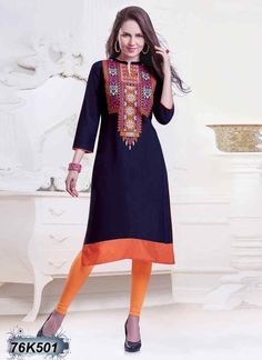 Ethereal Navy Blue Coloured Rayon Embroidered Kurti