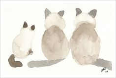 "Joyce Ann Burton-Sousa; Watercolor, 2004, Painting ""Ginger, Rosie and Simon"""