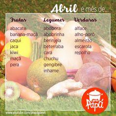 Alimentos da safra de Abril! Food Hacks, Diabetes, Food And Drink, Nutrition, Cooking, Tips, Recipes, Foods, Recipes For Babies