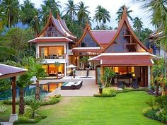 The Adelaide housing market offers some luxurious homes for your retirement. Asian House, Thai House, Villa Design, Roof Design, Dream Home Design, My Dream Home, Indonesian House, Modern Contemporary Homes, Bungalow House Design