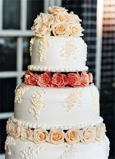 Wedding Cake With Rose Tiers