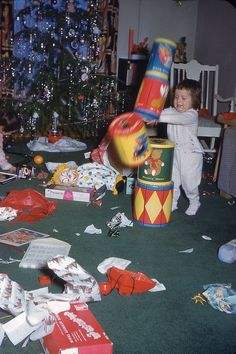 Santa should send elves to help parents clean up after unwrapping all of those gifts. Old Time Christmas, What Is Christmas, Old Fashioned Christmas, Christmas Past, Christmas Morning, Christmas Holidays, Xmas, Happy Holidays, Vintage Christmas Photos
