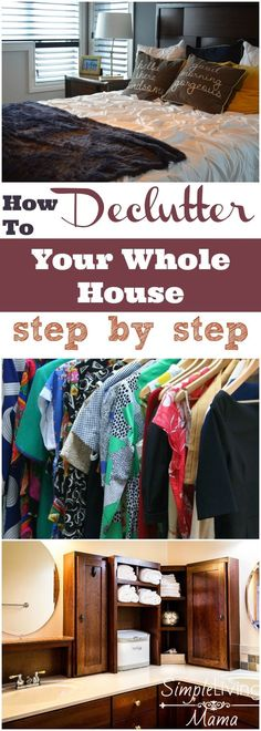 The steps you need to begin decluttering your entire house. You can declutter your whole house and these steps will help. I love to simplify everything. If you want to know how to declutter your whole house, here are my tips. Konmari, Getting Rid Of Clutter, Getting Organized, Declutter Your Life, Declutter House, Bathroom Declutter, Clutter Control, Home Management, Up House