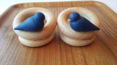 Aarikka Vintage Blue Wooden Two Birds Phone Remote Control Holder