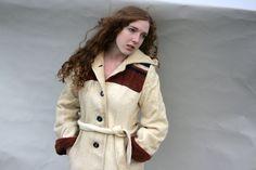 Vintage Long Coat Hood Cream Rust Navy Rustic Distressed.