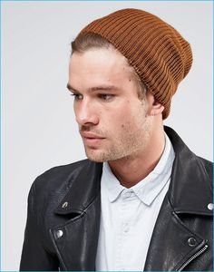 461fbf1fe43 ASOS Men s Tobacco Brown Slouchy Beanie Guys In Beanies