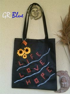 GR.Blue handmade decorated shopping bag. Findme on facebook and ETSY.com