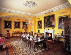 The dining room, Newby Hall. Such a lovely colour - and delicate plasterwork!