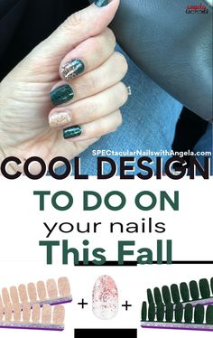Do you need design ideas for your nails? Add that wow factor to your nails with Chelsea Ya Later, a sparkling muted champagne and Scot Topic, a deep green and holographic glitter finish will be the talk of the town. To finish it off with pizzazz, top your tips with Coming Up Rose Gold! Get quick stylish nails in minutes with Color Streets fall nail inspiration that fit for any style or occasion. #fallnaildesign #colorstreetnails #prettynailartdesign