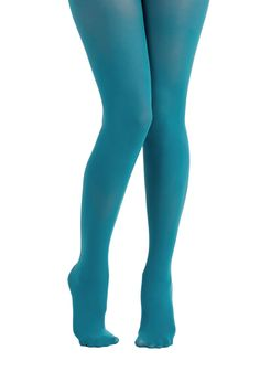 Layer It On Tights in Teal. Enjoying your favorite warm-weather clothes year 'round is a cinch now that you've welcomed these ModCloth-exclusive tights into your wardrobe! #blue #modcloth