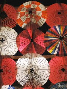 Gorgeous paper umbrellas at the theaters of war and peace. #japan