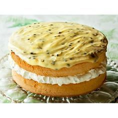 Feather sponge cake with passionfruit icing recipe - By FOOD TO LOVE, Feather sponge filled with clouds of whipped cream and topped with passionfruit icing. Baking Recipes, Dessert Recipes, Lemon Desserts, Kitchen Recipes, Passionfruit Recipes, Sponge Cake Recipes, Best Sponge Cake Recipe Ever, Bowl Cake, Classic Cake