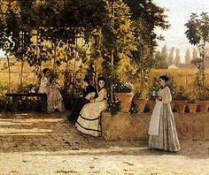 """""""Il pergolato"""", Silvestro Lega, 1866; olio su tela, 74x94 cm; l'opera è conservata presso la Pinacoteca di Brera, Milano."""