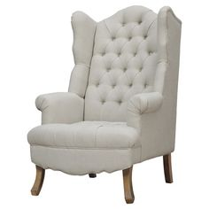 A sophisticated addition to your living room or study, this chic chair features a wingback-inspired design and diamond-tufted linen upholstery for classic ap...