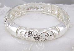 Silver Flower Filigree Stretch Bracelet Fashion Jewelry NEW #fashionleader #Stretch