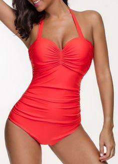 Halter Ruched Orange Red One Piece Swimwear   liligal.com - USD $31.00