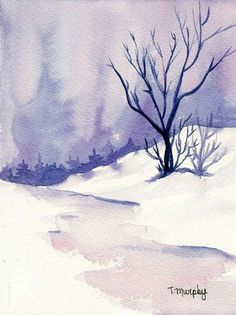 Cool Winter Landscape Watercolor Tracee Murphy Might Try This For A Christmas Card Design But Put In Fir Instead