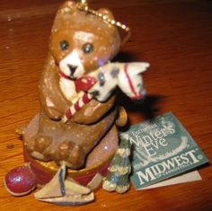 Midwest of Cannon Falls Pam Schifferl -Teddy Bear on Drum Ornament-RARE