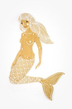 The beautiful paper doll Mermaid would be a nice gift for any occasion. She has a silver hair and tail. You can play with doll, hang it on the