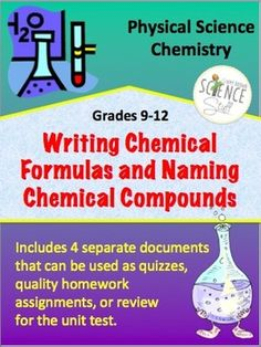 Chemical Formulas and Naming Compounds. Writing Formulas and Naming Compounds for High School Physical Science or Chemistry Chemistry Set, High School Chemistry, Science Chemistry, High School Science, Physical Science, Nursing Schools Near Me, Online Nursing Schools, Science Resources, Science Lessons
