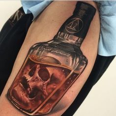 Jesse Rix skull in a bottle tattoo Circle Tattoos, 3d Tattoos, Skull Tattoos, Love Tattoos, Beautiful Tattoos, Body Art Tattoos, Fish Tattoos, Pirate Tattoo, Tattoo Designs
