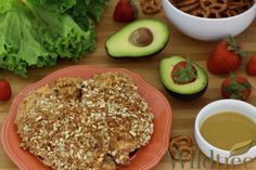 Honey Dijon Pretzel Crusted Chicken - 4 chicken breast cutlets (about pounds) 2 egg whites ¼ cup Wildtree Honey Dijon Dressing & Dipping Sauce 1 cup pretzels crushed Pretzel Crusted Chicken, Easy Healthy Recipes, Healthy Foods, Healthy Life, Make Ahead Meals, Freezer Meals, Turkey Cutlets, Organic Cooking, Food Displays