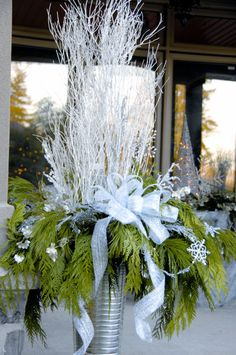 outdoor christmas urns arrangements - Google Search More