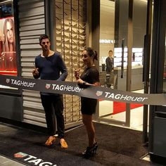 Olympic gold medalist Lydia Lassila and Collingwood captain Scott Pendlebury open the new @tagheuer boutique on Collins st. #timeandtidextagheuer