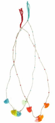 Metallic beads strung on stretch elastic cord embellished with fluo tassels.