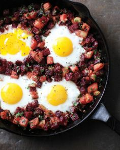Beet Hash with Eggs - Whole Living Eat Well // my new favorite thing to make for breakfast