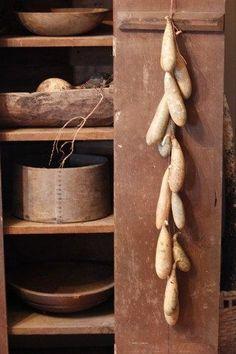 Primitive Long Gourd Garland by MillRiverPrimitives.... | Dried Gourds