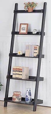 """Ladder Shelf - 5 Shelf Bookcase (Black) ( 77"""" H x 26"""" W x 14"""" D)"""
