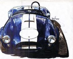 """This is an old poster by the Japanese artist """"Bow"""". I used to own the original and gave it to a museum in Colorado. Bondurant's CSX 2345 at the 1965 Rossfeld Hillclimb, Rossfeld Germany."""