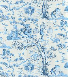 Waverly Upholstery Fabric-Haiku Toile/Indigo