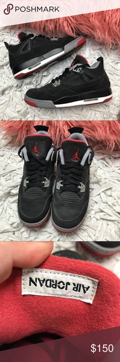 """Authentic Air Jordan 4 Retro """"Bred"""" 2012 Release Great condition. Worn once. Authentic. Kept in a smoke and pet free environment. Accepting all reasonable offers. 5.5 in youth and 7.5 in women's Air Jordan Shoes Sneakers"""