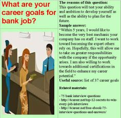 Related materials: 75 bank interview questions. Ebook: interviewquestionsebooks.com/download/UltimateGuideToJobInterviewAnswers