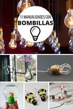 11 manualidades con bombillas ➜ ¿Sabes todo lo que puedes hacer con una bombilla? Collares, terrarios, centros de mesa...   #DIY #Manualidades #Reciclar #Bombillas #Lightbulb #Handmade